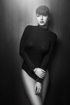 Free Women S Black Long Sleeves One Piece Bathing Suit Stock Images - 109888724