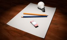 Free High Angle View Of Pencils On Table Stock Photography - 109889432