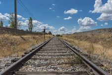 Free Railroad Track Amidst Trees Against Sky Stock Photography - 109890052