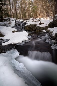 Free Water Flowing Through Snow Covered Forest Royalty Free Stock Images - 109892159
