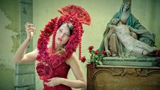 Free Midsection Of Woman Wearing Red Flower Royalty Free Stock Images - 109892339