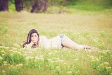 Free Woman Lying On Grass Royalty Free Stock Photography - 109892347