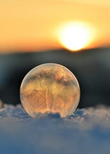 Free Frozen Soap Bubble Against Sky During Sunset Royalty Free Stock Image - 109892706