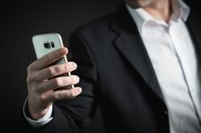 Free Close-up Of Man Using Mobile Phone Stock Photos - 109892743