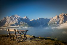 Free View Of Chairs On Mountain Range Royalty Free Stock Photos - 109892748