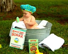 Free Shirtless Baby Boy In Galvanized Tub Stock Images - 109893224