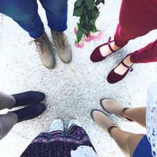 Free Five Person Wears Footwear At Daytime Stock Photo - 109900430