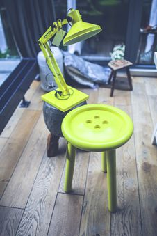 Free Yellow Lamp And Little Table Stock Photography - 109904582