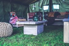 Free Interior Of Military Tent / Wooden Table Stock Photography - 109904602