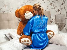 Free Adorable, Bathrobe, Bed Stock Images - 109905804