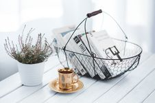 Free Golden Cup And Basket With Books Royalty Free Stock Photography - 109906877