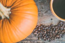 Free Orange Pumpkin And Coffee Beans Royalty Free Stock Photography - 109907407