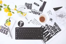 Free Top View Of Creative Workspace With Keyboard And Coffee Royalty Free Stock Images - 109907709