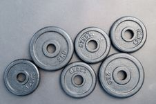 Free Six Assorted Weight Plates Royalty Free Stock Photos - 109908078
