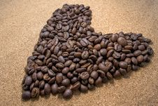 Free Brown Coffee Bean In Heart Shaped Stock Image - 109908401