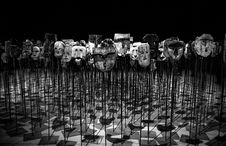 Free Greyscale Photo Of Masks On A Stick Royalty Free Stock Photo - 109908615