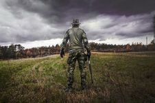 Free Man In Camouflage Suit Holding Shotgun Royalty Free Stock Photos - 109908668