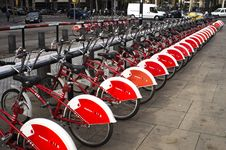 Free Parked Red And White Bicycles Stock Photos - 109908703