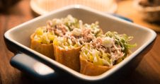 Free Three Tacos On Black And White Ceramic Bowl Stock Photos - 109908723