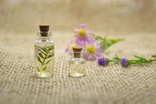 Free Two Clear Glass Bottles With Liquids Royalty Free Stock Image - 109908766