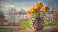 Free Orange Clustered Petaled Flowers In Brown Wicker Pot On Brown Wooden Plank Stock Photo - 109908820