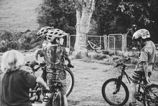 Free Grayscale Photography Of Children Riding Bicycles Stock Image - 109908961