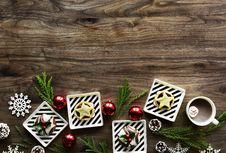Free Square White Christmas Theme On Brown Wooden Floor Royalty Free Stock Photo - 109909575
