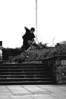 Free Grayscale Photo Of Man Doing Trick On Skateboard On Park Royalty Free Stock Image - 109909666