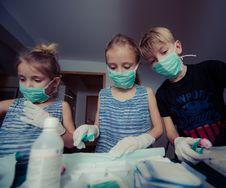 Free Three Children Wearing Face Masks Stock Photos - 109910263