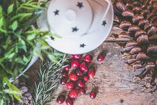 Free Holly Plant Berries Beside White Lantern Royalty Free Stock Images - 109910999