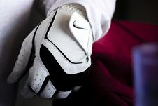 Free Person Wearing White And Black Nike Leather Glove Royalty Free Stock Images - 109911089