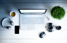 Free Photography Of Laptop Computer, Camera, Smartphone, Headphones, And Mug Stock Photos - 109911453