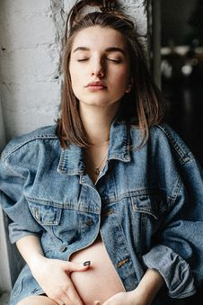 Free Woman In Blue Denim Button-up Jacket Stock Photography - 109911562