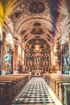 Free Brown And White Church Interior Stock Image - 109911741