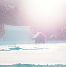 Free Two Brown Bungalows Above Snow Field Royalty Free Stock Image - 109911966