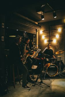 Free Three Man Band With Musical Instruments Royalty Free Stock Image - 109911976