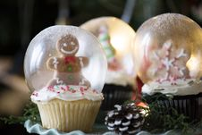 Free Three Christmas-themed Glass Snow Globes Stock Photos - 109912043
