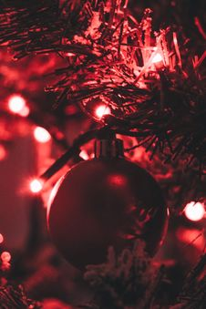 Free Red Bauble Attached On A Pre-lit Tree Stock Image - 109912231