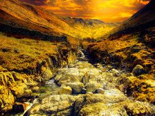 Free Water Stream With Brown Rocks Painting Stock Images - 109912404