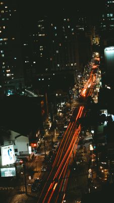Free Bird S Eye View Of City At Night Time Stock Images - 109912464