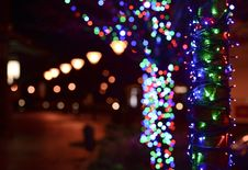 Free Illuminated Christmas Lights At Night Royalty Free Stock Photo - 109912565