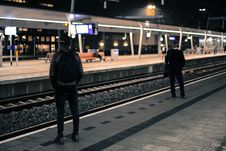 Free Photo Of Two Men Standing Near Railway Station Royalty Free Stock Images - 109912689