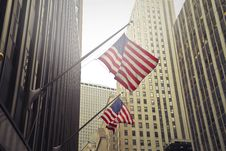 Free Two U.s.a. Flags Under White Clouds At Daytime Royalty Free Stock Photos - 109912698