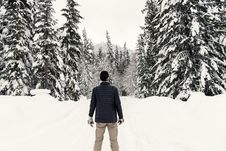 Free Photo Of A Man In The Snowy Forest Stock Photography - 109912752