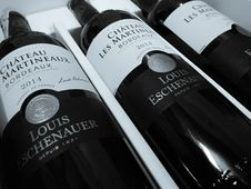 Free 2014 Three Chateau Les Martineaux Bordeaux Bottles Royalty Free Stock Images - 109912809