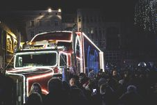 Free Photography Of People Gathered Beside Coca-cola Truck During Nighttime Stock Photography - 109913052