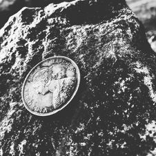 Free Grayscale Photo Of Victoria Queen Coin On Top Of Rock Stock Image - 109913321