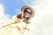 Free Woman Wearing Dress Smiling Taking For Picture Under Cloudy Skies Stock Images - 109913404