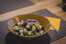 Free Vegetable Slices On Brown Ceramic Bowl Stock Photo - 109913490