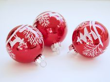 Free Three White-and-red Christmas Tree Printed Baubles Royalty Free Stock Image - 109913506